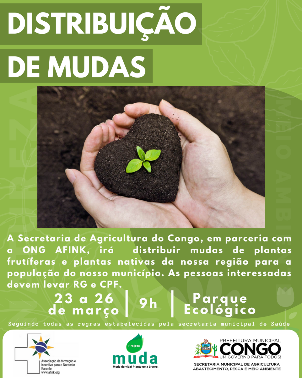 Prefeitura fará distribuição de mudas de plantas frutíferas e nativas da nossa região.