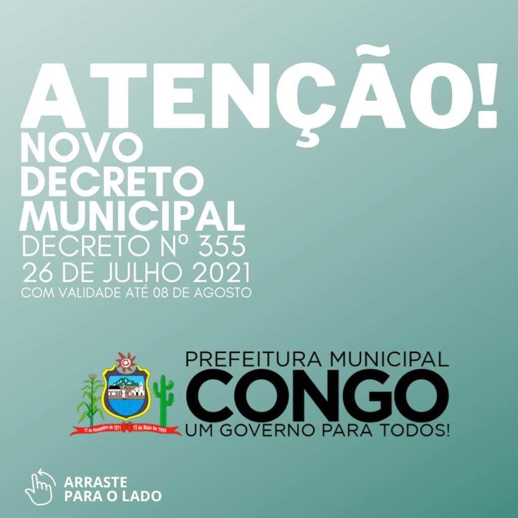 Atenção!: novo decreto municipal. Decreto nº 355