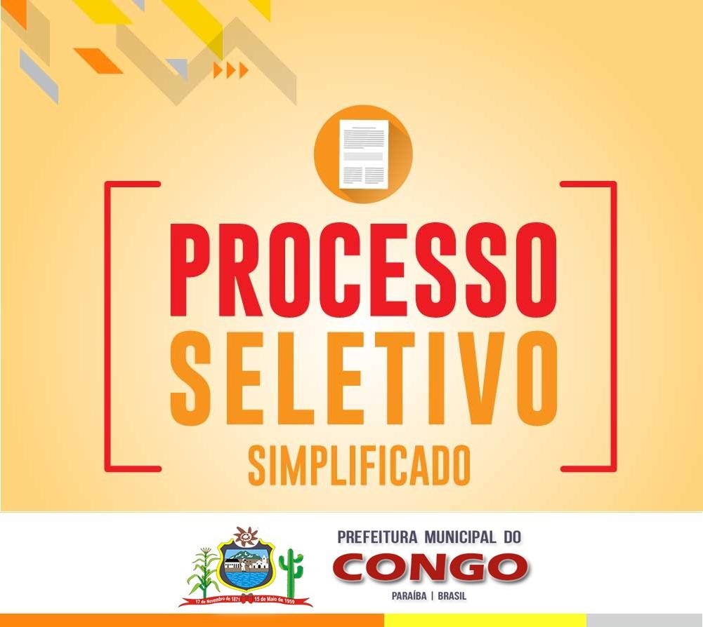 Prefeitura de Congo lança Edital de Processo Seletivo Simplificado para contratação temporária