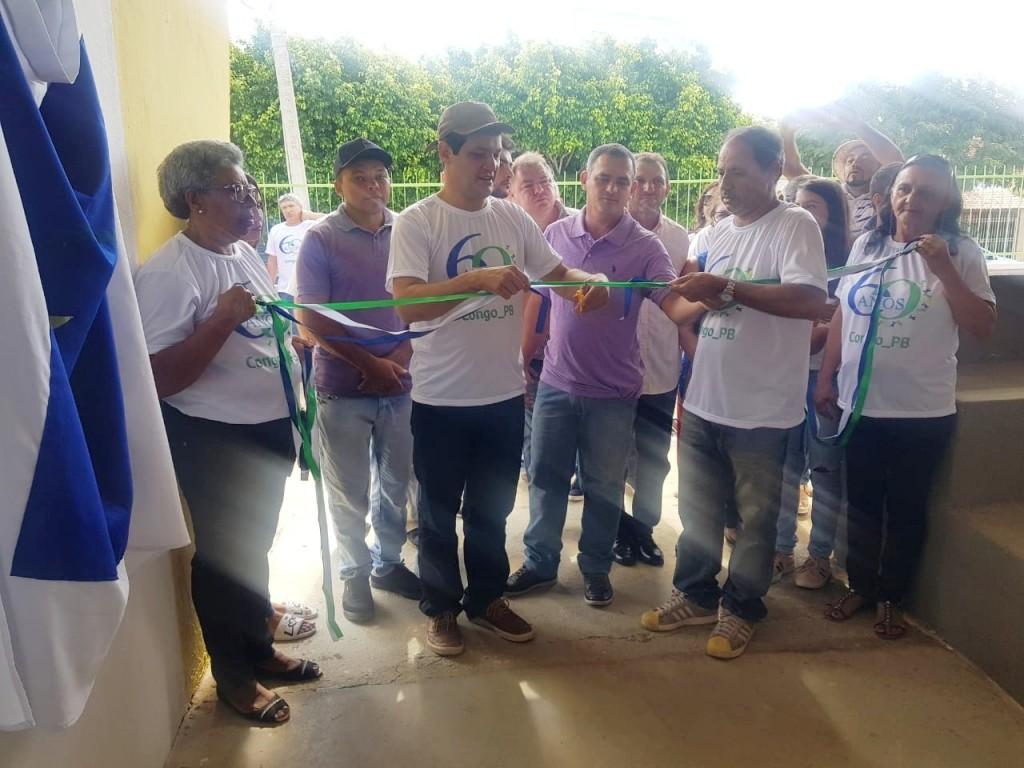 Prefeito Júnior Quirino inaugura quadra poliesportiva da Escola Municipal da cidade de Congo