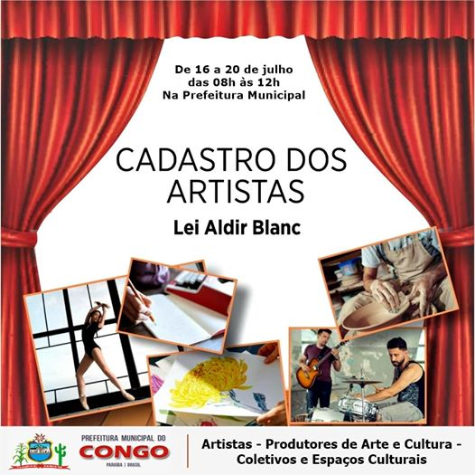 Prefeitura do Congo inicia cadastro de artistas e espaços culturais que podem receber auxílio através da Lei Aldir Blanc