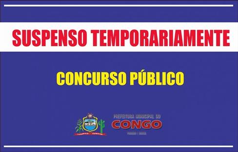 Concurso da Prefeitura do Congo é suspenso temporariamente em virtude da pandemia do novo coronavírus